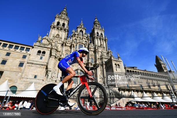 Tobias Ludvigsson of Sweden and Team Groupama - FDJ competes in the Plaza del Obradoiro with the Cathedral in the background during the 76th Tour of...