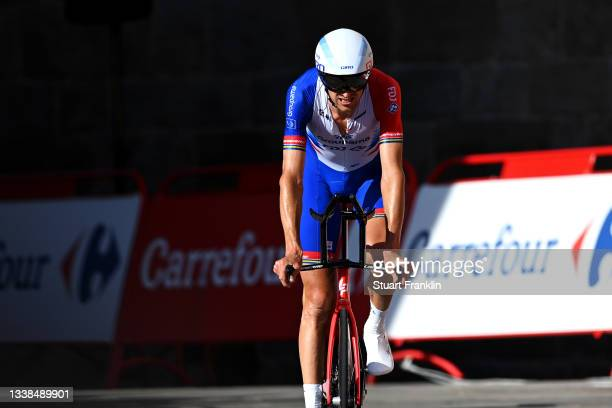 Tobias Ludvigsson of Sweden and Team Groupama - FDJ crosses the finishing line during the 76th Tour of Spain 2021, Stage 21 a 33,8 km Individual Time...