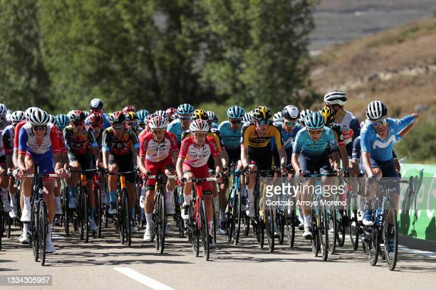 Tobias Ludvigsson of Sweden and Team Groupama - FDJ, Damiano Caruso of Italy and Team Bahrain Victorious , Guillaume Martin of France and Team...