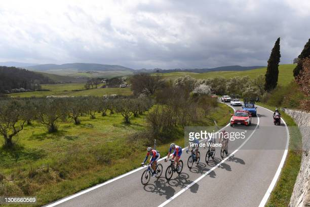 Tobias Ludvigsson of Sweden and Team Groupama - FDJ, Guillaume Boivin of Canada and Team Israel Start-Up Nation, Davide Bais of Italy and Eolo-Kometa...