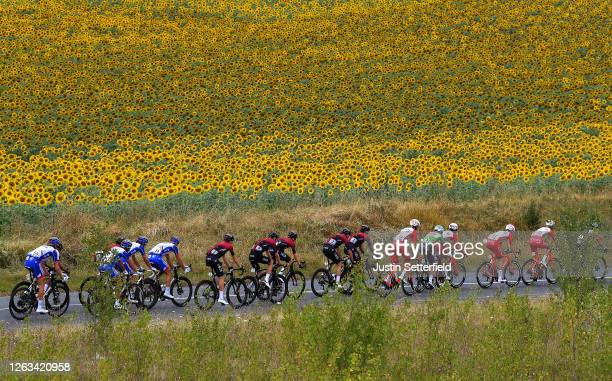 Tobias Ludvigsson of Sweden and Team Groupama FDJ / Jonathan Castroviejo of Spain and Team Ineos / Matthieu Ladagnous of France and Team Groupama FDJ...