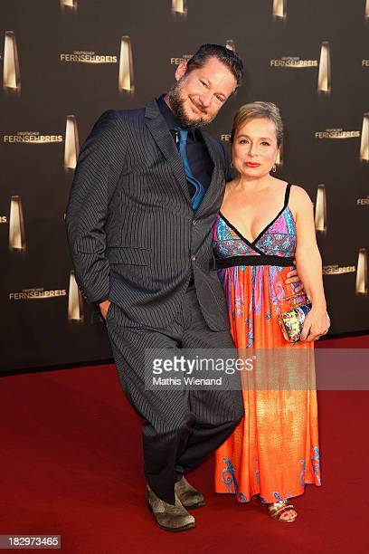 Tobias Materna and ChrisTine Urspruch arrive at the red carpet of the 'Deutscher Fernsehpreis 2013' at Coloneum on October 2 2013 in Cologne Germany