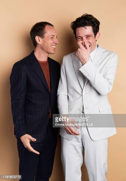 Tobias Menzies and Josh O'Connor pose for a portrait at the 2020 BAFTA Tea Party on January 04 2020 in Beverly Hills California