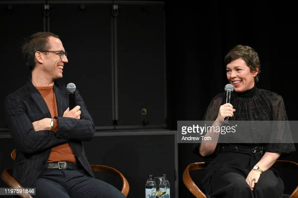 Tobias Menzies and Olivia Colman speak onstage at The Crown SAG Screening Reception at NeueHouse Los Angeles on January 04 2020 in Hollywood...