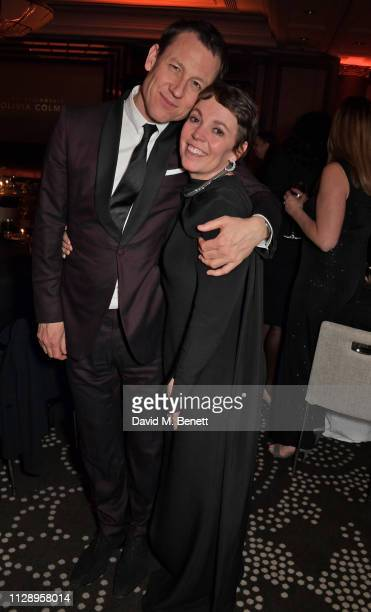 Tobias Menzies and Olivia Colman wearing Atelier Swarovski Fine Jewelry attend the BFI Chairman's Dinner honouring Olivia Colman with the BFI...