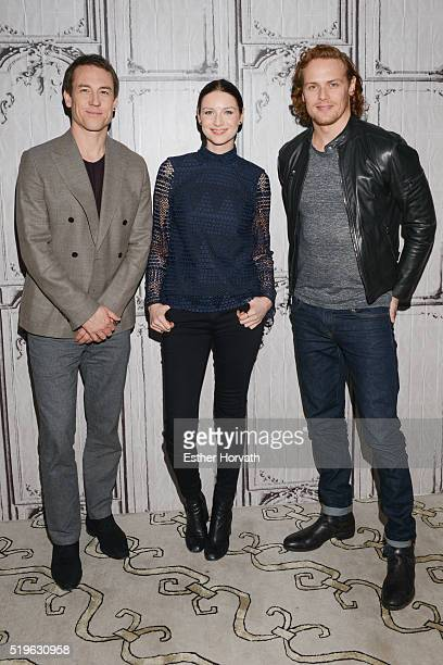 Tobias Menzies Caitriona Balfe And Sam Heughan attend AOL Build Speakers Series Caitriona Balfe And Sam Heughan Outlander at AOL Studios In New York...