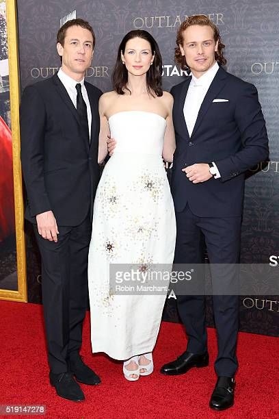 Tobias Menzies Caitriona Balfe and Sam Heughan attends the Outlander Season Two World Premiere at American Museum of Natural History on April 4 2016...