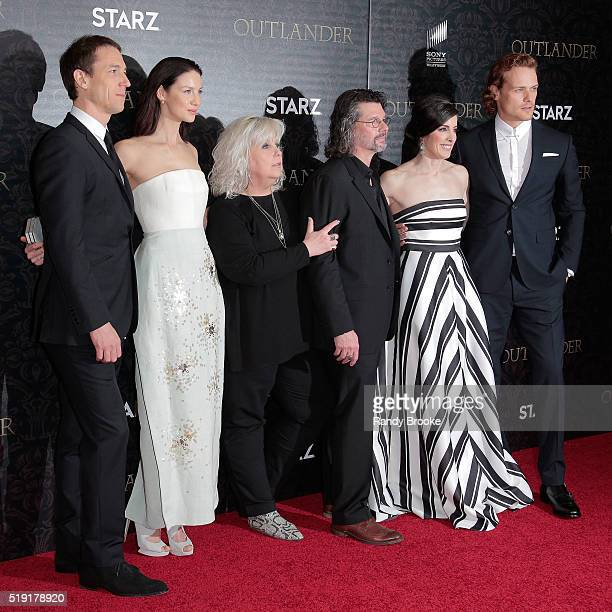 Tobias Menzies Caitriona Balfe Terry Dresbach Ronald D Moore Maril Davis and Sam Heughan attend the Outlander Season Two World Premiere at the...