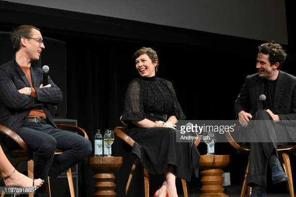 Tobias Menzies Olivia Colman and Josh O'Connor speak onstage at The Crown SAG Screening Reception at NeueHouse Los Angeles on January 04 2020 in...