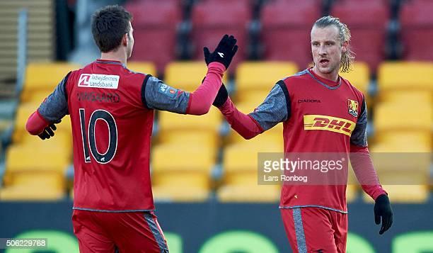 Tobias Mikkelsen and Martin Vingaard of FC Nordsjalland celebrates after scoring their second goal during the FC Nordsjalland and IF Elfsborg...