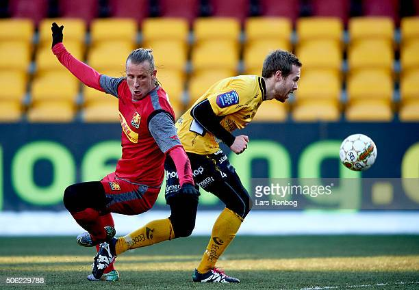 Tobias Mikkelsen of FC Nordsjalland and Anders Randrup of IF Elfsborg compete for the ball during the FC Nordsjalland and IF Elfsborg friendly match...