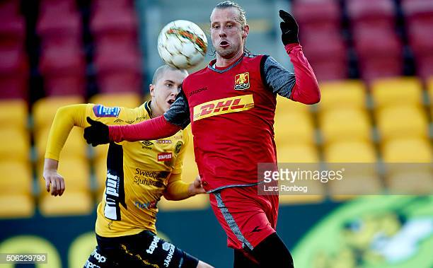 Tobias Mikkelsen of FC Nordsjalland in action during the FC Nordsjalland and IF Elfsborg friendly match at Farum Park on January 22, 2016 in Farum,...