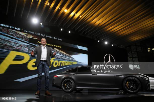 Tobias Moers chief executive officer of CEO of MercedesAMG speaks about the 2019 MercedesBenz AMG GT S during the MercedesBenz media event at the New...