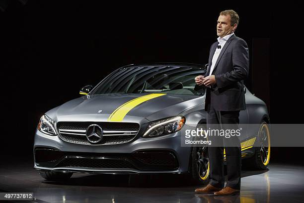 Tobias Moers chief executive officer of MercedesAMG GmbH speaks as the Daimler AG MercedesBenz AMG C63 S Coupe performance is displayed during the...