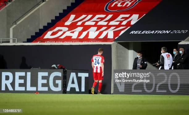 Tobias Mohr of Heidenheim walks off dejected after the Bundesliga playoff second leg match between 1. FC Heidenheim and Werder Bremen at Voith-Arena...
