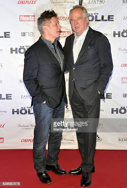 Tobias Moretti and Friedrich von Thun pose during the 'Die Hoelle' Vienna Premiere at Cineplexx Wienerberg cinema on January 16 2017 in Vienna Austria