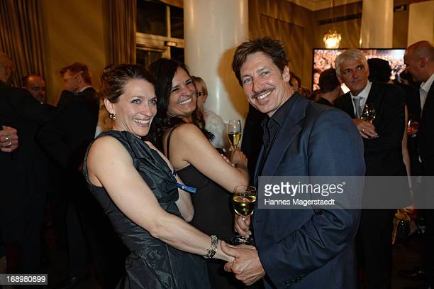 Tobias Moretti and his wife Julia and Rita Serra-Roll attend the 'Bayerischer Fernsehpreis 2013' at Prinzregententheater on May 17, 2013 in Munich,...