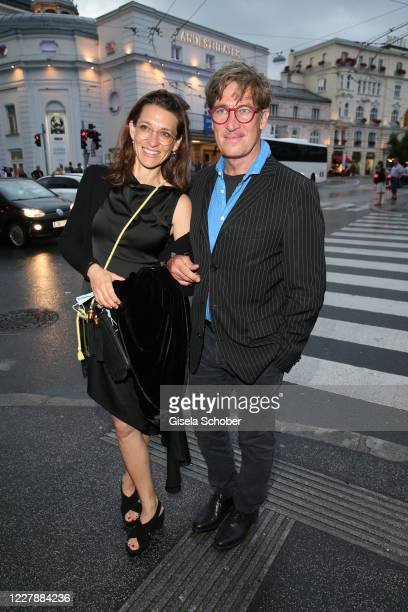 "Tobias Moretti and his wife Julia Moretti attend the theatre premiere of ""Zdenek Adamec"" during the Salzburg Festival 2020 at Landestheater on August..."
