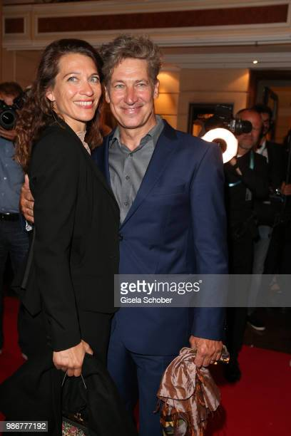 Tobias Moretti and his wife Julia Moretti during the opening night of the Munich Film Festival 2018 reception at Hotel Bayerischer Hof on June 28,...