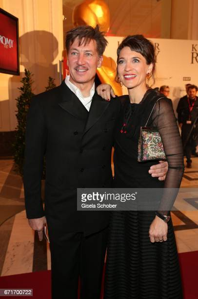 Tobias Moretti and his wife Julia Moretti during the ROMY award at Hofburg Vienna on April 22, 2017 in Vienna, Austria.