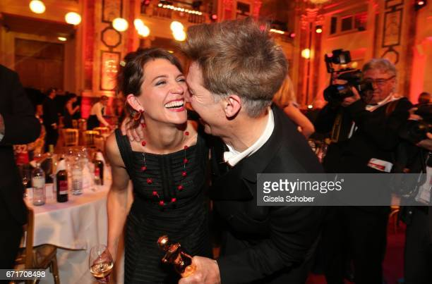 Tobias Moretti and his wife Julia Moretti with award during the ROMY award at Hofburg Vienna on April 22 2017 in Vienna Austria