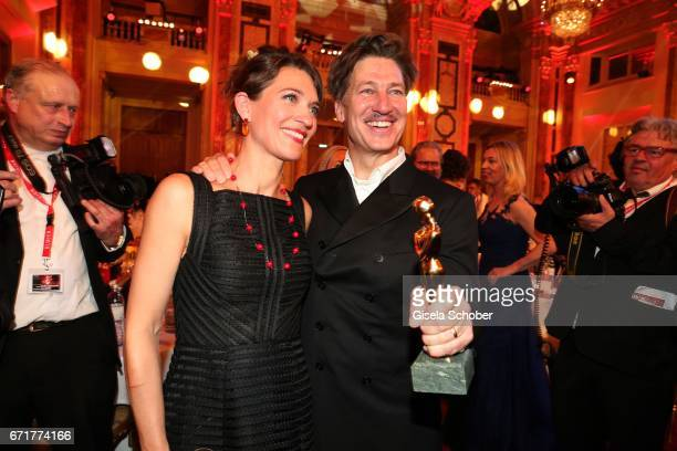 Tobias Moretti and his wife Julia Moretti with award during the ROMY award at Hofburg Vienna on April 22, 2017 in Vienna, Austria.