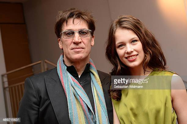 Tobias Moretti and Paula Beer pose at the 'Das finstere Tal' Munich premiere at City Kino on February 13 2014 in Munich Germany