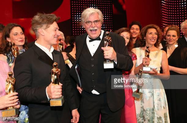 Tobias Moretti and Peter Simonischek with award during the ROMY award at Hofburg Vienna on April 22 2017 in Vienna Austria