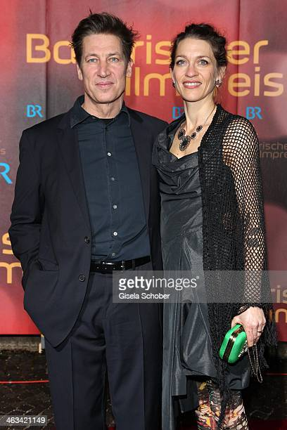 Tobias Moretti and wife Julia attend the Bavarian Film Award 2014 at Prinzregententheater on January 17, 2014 in Munich, Germany.