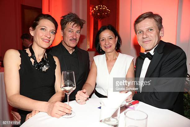 Tobias Moretti, his wife Julia Moretti and Austrian politician Josef Ostermayer and his wife Manuela during the 27th ROMY Award 2015 at Hofburg...