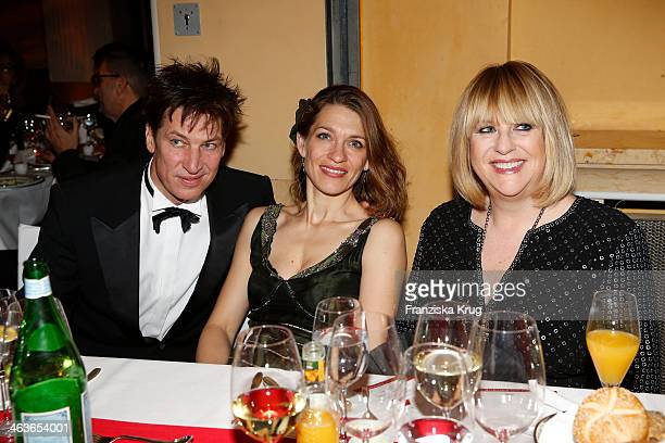Tobias Moretti, Julia Moretti and Patricia Riekel attend the German Film Ball 2014 on January 18, 2014 in Munich, Germany.