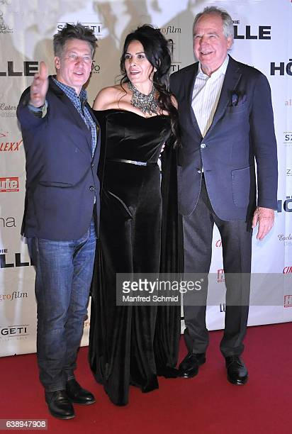Tobias Moretti Nursel Koese and Friedrich von Thun pose during the 'Die Hoelle' Vienna Premiere at Cineplexx Wienerberg cinema on January 16 2017 in...
