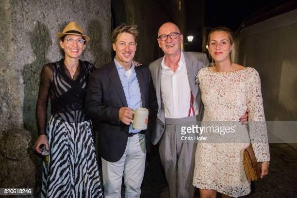 Tobias Moretti with his wife Julia and Peter Lohmeyer with Leonie Seifert attend the 'Jedermann' premiere celebration during the Salzburg Festival...