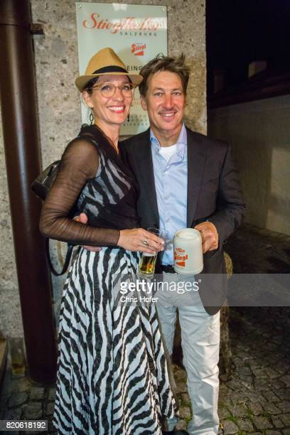 Tobias Moretti with his wife Julia attend the 'Jedermann' premiere celebration during the Salzburg Festival 2017 on July 21, 2017 in Salzburg,...