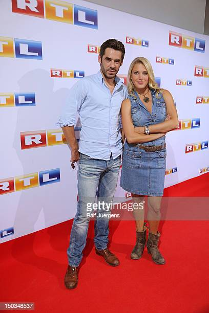 Tobias Oertel and EvaMaria Grein von Friedl attend the RTL Programm press conference Season 2012/13 on August 16 2012 in Cologne Germany
