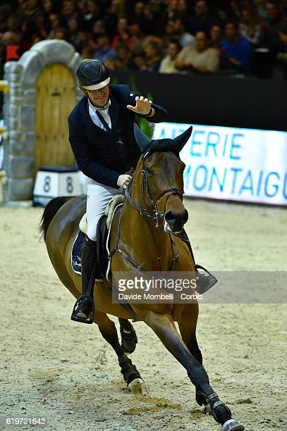 Tobias of Germany rides Cathleen during the Grand Prix EQUITA MASTERS Longines FEI World Cup at in the EQUITA Lyon