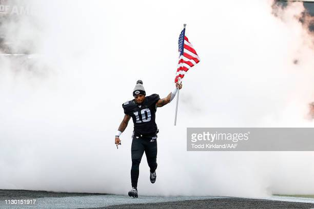 Tobias Palmer of the Birmingham Iron takes the field for an Alliance of American Football game against the Salt Lake Stallions at Legion Field on...
