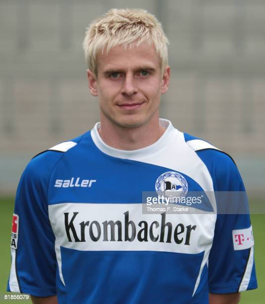 Tobias Rau poses during the Bundesliga 1st Team Presentation of Arminia Bielefeld at the Schueco Arena on July 8 2008 in Bielefeld Germany