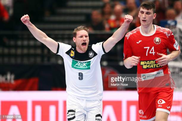 Tobias Reichmann of Germany celebrates a goal during the Men's EHF EURO 2020 main round group I match between Belarus and Germany at Wiener...