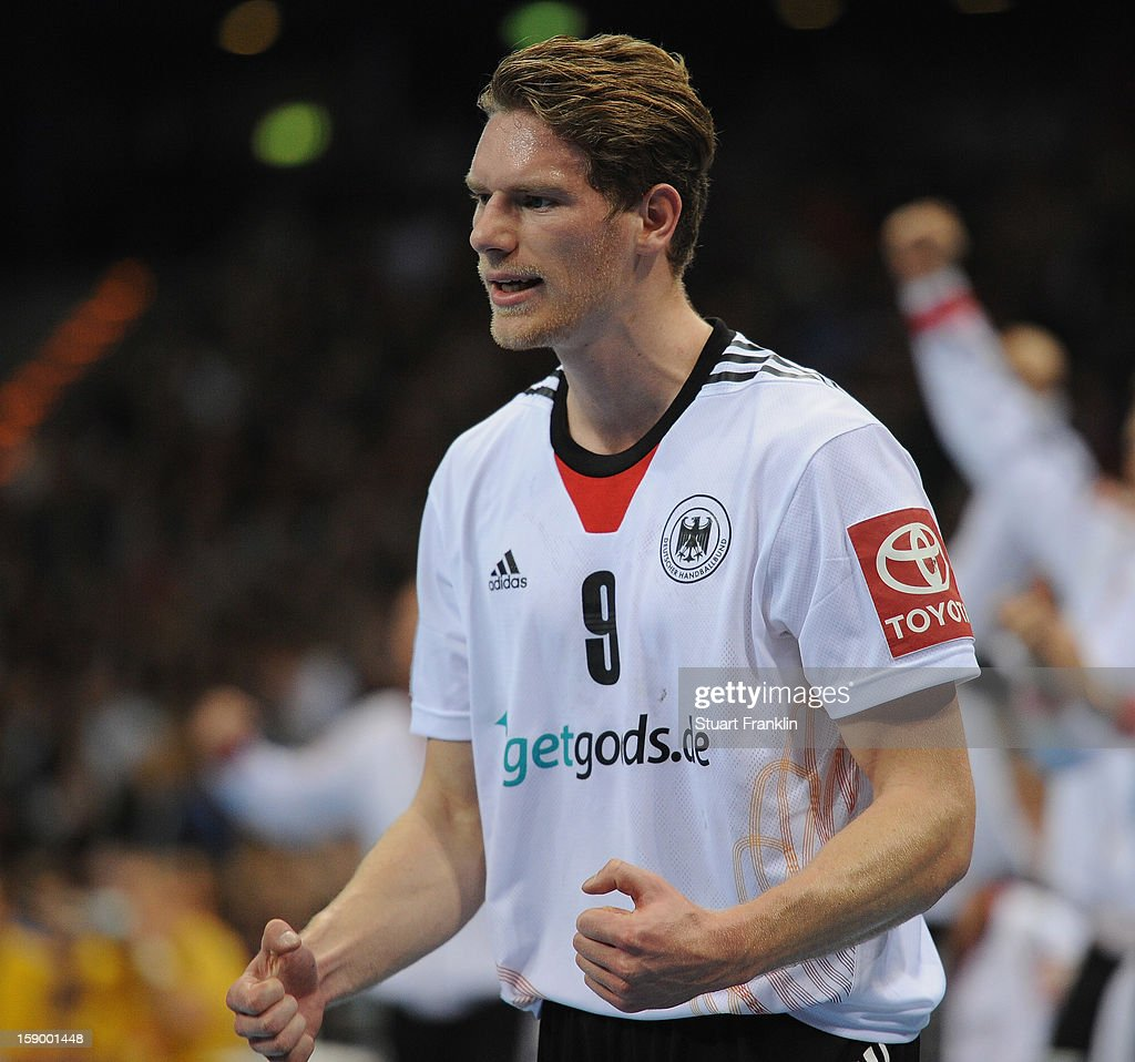Tobias Reichmann of Germany celebrates scoring a goal during the international handball friendly match between Germany and Sweden at O2 World on January 5, 2013 in Hamburg, Germany.