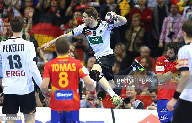 Tobias Reichmann of Germany scores a goal during the Gold Medal match the final of the Men's EHF European Handball Championship 2016 between Spain...