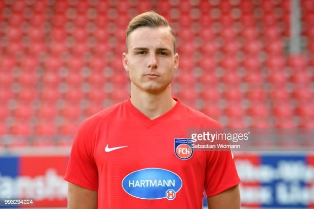 Tobias Reithmeir of 1 FC Heidenheim poses during the team presentation at VoithArena on July 6 2018 in Heidenheim Germany