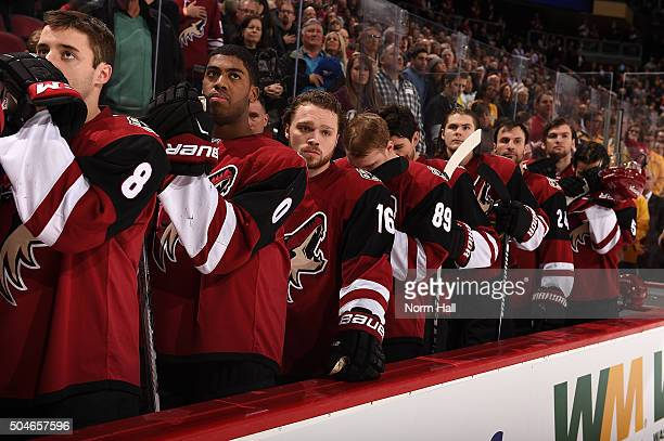 Tobias Rieder Anthony Duclair and Max Domi of the Arizona Coyotes stand on the bench during the national anthem against the Nashville Predators at...