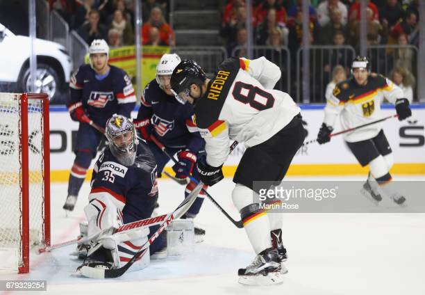 Tobias Rieder of Germany scores the first goal during the 2017 IIHF Ice Hockey World Championship game between USA and Germany at Lanxess Arena on...