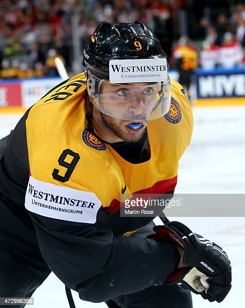 Tobias Rieder of Germany skates against Austria during the IIHF World Championship group A match between Germany and Austria at o2 Arena on May 11...