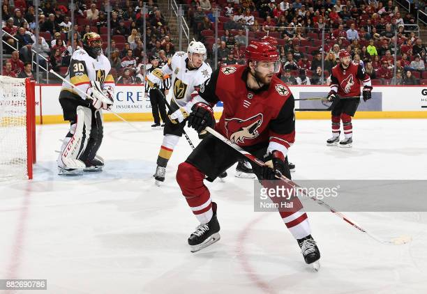 Tobias Rieder of the Arizona Coyotes looks for the puck while in the offensive zone against the Vegas Golden Knights at Gila River Arena on November...