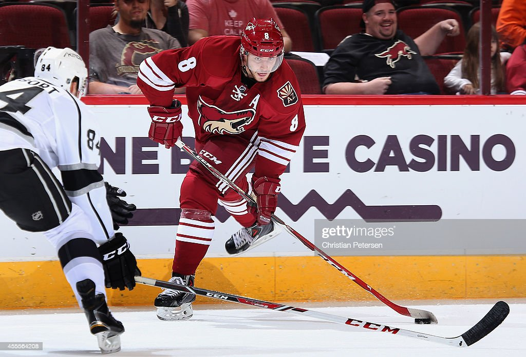 Tobias Rieder #8 of the Arizona Coyotes looks to shoot the puck during the NHL rookie camp game against the Los Angeles Kings at Gila River Arena on September 16, 2014 in Glendale, Arizona.