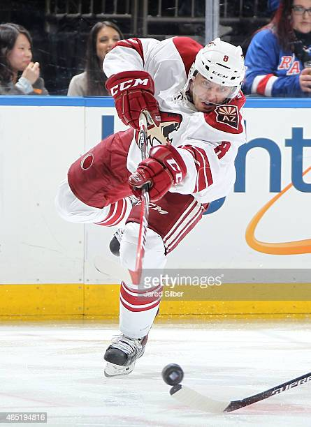 Tobias Rieder of the Arizona Coyotes shoots the puck against the New York Rangers at Madison Square Garden on February 26 2015 in New York City The...