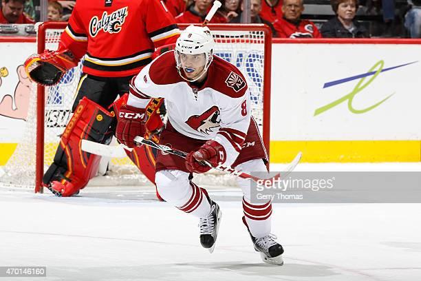Tobias Rieder of the Arizona Coyotes skates against the Calgary Flames at Scotiabank Saddledome on April 7 2015 in Calgary Alberta Canada Calgary won...