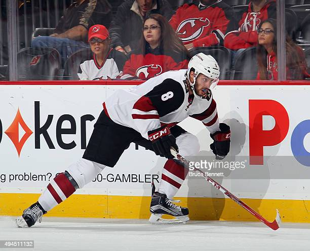 Tobias Rieder of the Arizona Coyotes skates against the New Jersey Devils at the Prudential Center on October 20 2015 in Newark New Jersey the Devils...
